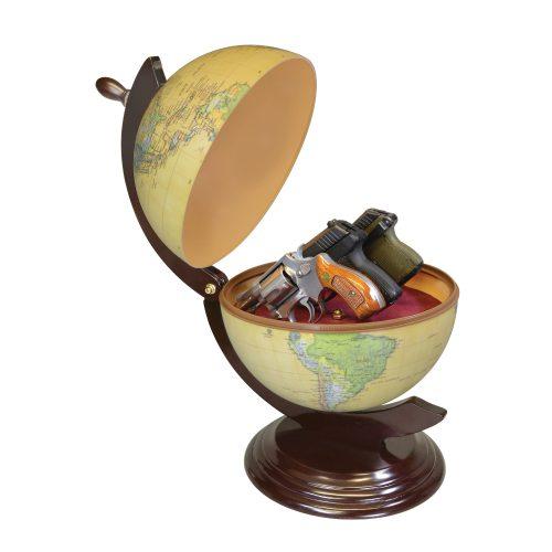 The Gun Globe hides 3 hand guns