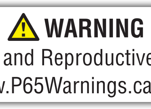 Warning: Cancer and Reproductive Harm. www.P65Warnings.com